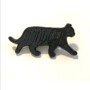 Accessories - Hoodcats Lapel Hat Pin Black Glitter Hood Cat